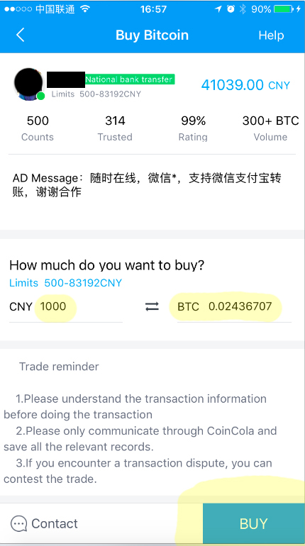buy cryptocurrency with cny